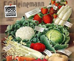 Even in the companies made use of to sell their product. This beautifully detailed fruit and vegetable ad from 1898 is a one of a kind masterpiece. Eliana, Knysna, Fruits And Vegetables, Type 1, Cabbage, Healthy Eating, Facebook, Photos, Things To Sell