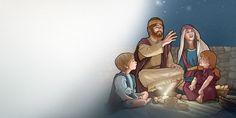 Uma família dos tempos bíblicos olha para o céu estrelado
