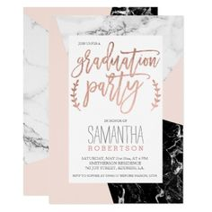 Rose gold typography blush marble graduation party card - marble gifts style stylish nature unique personalize