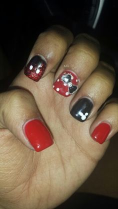 Disney Nails! Minnie, and Mickey designs. I have acrylic and then a gel manicure °•°