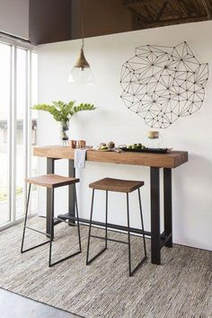 Modern & Contemporary Dining Room Design - Trend Home Bar Table Design, Dining Room Design, Dining Room Chairs, Dining Rooms, Kitchen Dining, Table Designs, Kitchen Bistro Set, Small Kitchen Bar, High Top Table Kitchen