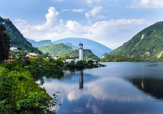 View of the Lake of Corlo located near the small villages of Rocca and Arsie, in…