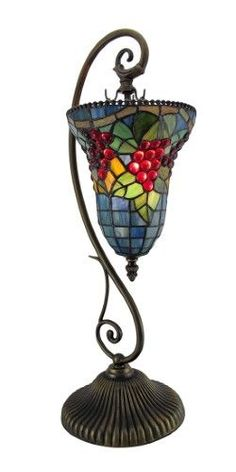 Colorful Grapes Art Glass Table Lamp w/Hanging Shade, Multi