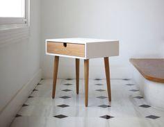 White nightstand / Bedside Table, Scandinavian Mid-Century Modern Retro Style…