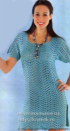Синее платье, связанное крючком