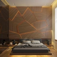 Wood + Light. Perfect idea for a bedroom design by Archiplastica.