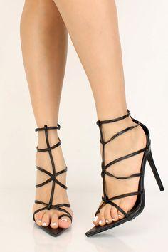 Black Strappy Pointy Toe High Heels High Heel Pumps, Pumps Heels, Stiletto Heels, Prom Heels, Sexy Heels, Black Heels, Caged Heels, Spring Shoes, Womens High Heels