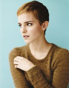 Emma Watson with her short hair. My mom cut my hair like this today, though perhaps a bit shorter.