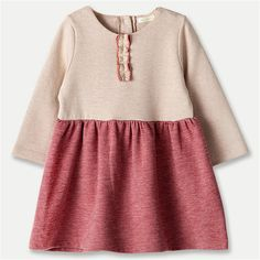 2016 New Cute Baby Girls Stitching Cotton Dress Toddler Infant Long Sleeve One Piece Dress Solid Color Newborn Princess Dress