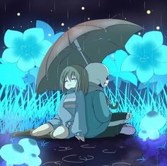 Waterfall sans and Frisk it's raining somewhere