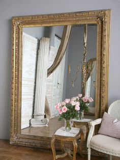 Giant Wall Mirror large gold very ornate antique design wall mirror 7ft x 5ft (213cm
