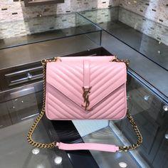 Ysl Saint Laurent college medium chain shoulder bag pink gold Saint Laurent Bag, Chain Shoulder Bag, Ysl, Chanel Boy Bag, Pink And Gold, Saints, College, Medium, Bags