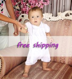 Baby baptism outfit White Christening Romper by HandmadeStoreTS