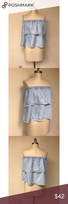 Anthropologie Cloth & Stone Crop New with tags. Size medium. No rips, stains or tears. Denim colored. Stretch band.  Length: 14 inches  Bust: 16 inches Anthropologie Tops Crop Tops