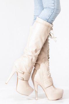 Qupid Stone Lace Up Platform Stiletto Knee High Boot