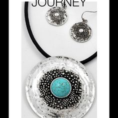 """Southwestern Turquoise Medallion. Necklace Set This necklace is 16"""" long plus Circular Medallion on a leather cord. Medallion is 2 1/2"""" in size; Earrings are 1 1/4"""" long.  Brand new. Jewelry Necklaces"""