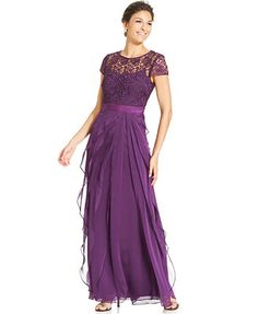 Adrianna Papell Cap-Sleeve Lace Tiered Gown, Macy's Mother of the Bride