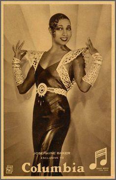 Columbia card for Harlem Renaissance diva Josephine Baker. Josephine Baker, Vintage Hollywood, Hollywood Glamour, Belle Epoque, Divas, Foto Poster, Vintage Black Glamour, African American Women, American History