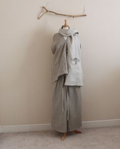 natural pebble linen outfit top pants scarf by linenclothingbyanny