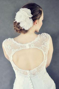 Flower clip Bridal Hair Accessories, One Shoulder Wedding Dress, Bride, Wedding Dresses, Flowers, Design, Fashion, Wedding Bride, Bride Dresses