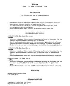 Templates For Resume This Image Presents The Chronological Resume Templatedo You Know
