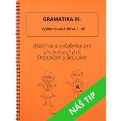 Gramatika III. - Vyjmenovaná slova 1. díl Thing 1, Prepositions, Home Schooling, Math Worksheets, Best Sellers, Alphabet, Language, Notes, Teacher