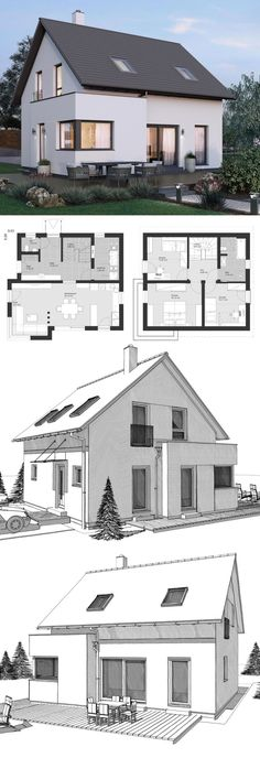 Small House Plans Modern Minimalist European Style Architecture Design ELK Haus 115 – Dream Home Ideas with Open Floor and 2 Story Layout by ELK Fertighaus – Arquitecture Contemporary Styles House Plan and Interior – HausbauDirekt.de by hausbaudirekt Small House Layout, House Layout Plans, Craftsman House Plans, Small House Floor Plans, Modern Floor Plans, New House Plans, Floor Plans 2 Story, Architecture Design, House Architecture Styles