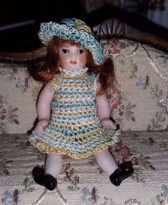 unknown artist - little girl with crocheted dress and hat; 1977