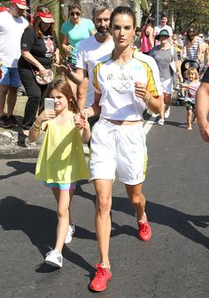 During the 2016 Rio Olympics, Alessandra Ambrosio and her daughter, Anja, took mommy-and-me style to a whole new level. Rio Olympics 2016, Summer Olympics, 2016 Rio, Model Street Style, Alessandra Ambrosio, I Am Game, Mommy And Me, Supermodels, Daughter
