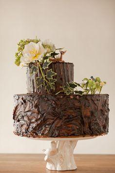 adorable woodland tree stump cake by Wild Orchid Baking Company, Wedding Cakes, Custom Cakes, Cupcakes Tree Stump Cake, Cakes Plus, Traditional Wedding Cake, Mod Wedding, Wedding Ideas, Chic Wedding, Woodsy Wedding, Rustic Weddings, Romantic Weddings