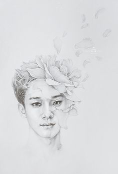 Baby Don't Cry - Chen by (erika h gaborovna) Chanyeol Baekhyun, Exo Fan Art, Xiuchen, Kpop Fanart, Chanbaek Fanart, Art Inspo, Pop Art, Pencil Drawings, Kpop Drawings