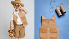 "Easy DIY Safari costume. Idea- make this costume with your child, set up animals around the house and use the binoculars to play ""I Spy, with my little eyes..."" game. Kids want parents to be involved and play with them while they are young!"