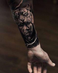 tiger tattoo, arm, mann, tigerkopf, armtattoo