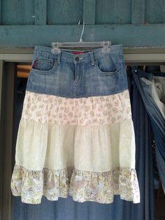 ON SALE Child's size 5 hippie boho maxi skirt by ShabbyChicChalet, $22.00