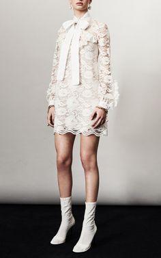 Lace Bow Long Sleeve Mini Dress by Francesco Scognamiglio
