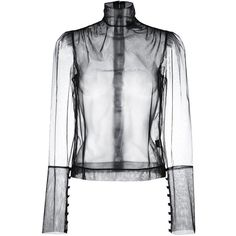 Simone Rocha Sheer Blouse (970 CAD) ❤ liked on Polyvore featuring tops, blouses, black, see through tops, transparent blouse, sheer top, simone rocha and see through blouse