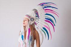 Handmade native inspire feather crown made by Carbickova Bijoux. www.CarbickovaBijoux.etsy.com <3