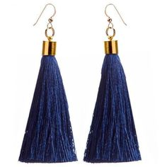 Katie Kime Navy Silk Tassel Earrings Navy And Gold By (805 MXN) ❤ liked on Polyvore featuring jewelry, earrings, accessories, gold earrings jewelry, gold tassel earrings, yellow gold earrings, tassle earrings and tassel earrings