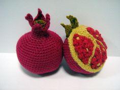 Fruit Crochet Pattern Pomegranate Crochet Pattern PDF Instant Download Crochet Food Pattern Pomegranate (Fruit - whole and cut) via Etsy