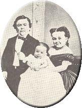 General Tom Thumb, Lavinia Warren, and child.
