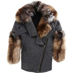 O'2nd Detachable Fur Cocoon Coat (985.650 CLP) ❤ liked on Polyvore featuring outerwear, coats, fur, jackets, grey fur coat, leather-sleeve coats, grey cocoon coat, gray cocoon coat and fur collar coat