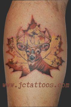 buck deer, Canadiana, maple leaf, hunter tattoo