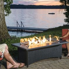 48 Inch Rectangular Cast Aluminum Propane Fire Pit Coffee Table   Antique  Bronze | The Sunset Bay Collection | Pinterest | Fire Pit Coffee Table And  ...