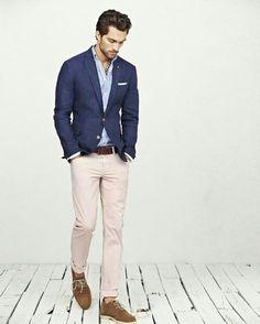 khaki white & light blue shirt