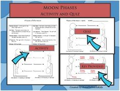 A great worksheet for teaching the 8 phases of the moon as part of your Earth Science unit.  A 1/2 page quiz version is also included with the answer key.  Great illustrations help teach the concept of moon phases easily and effectively to students.  Definitions are provided for each moon phase as well that make a great resource for students to study.