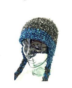 Blue Aviator Hat Crochet Blue Winter Hat Women by AnniewayCrochet