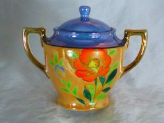 An absolutely flawless hand painted piece of Lusterware from Japan at least 60 years old. Sugar Bowls, Absolutely Flawless, Luster, Tea Pots, Hands, Hand Painted, Japan, Tableware, Dinnerware