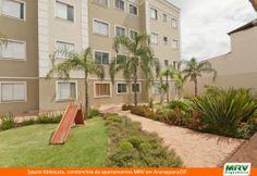Paisagismo e playground do Spazio Abbocato. Condomínio fechado de apartamentos MRV em Araraquara/SP.