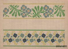 Цветочные гирлянды. Орнамент для бордюров или каймы. СССР, 1941 г. Flower garlands. Cross stitch patterns for bordres or braids. USSR, 1941.