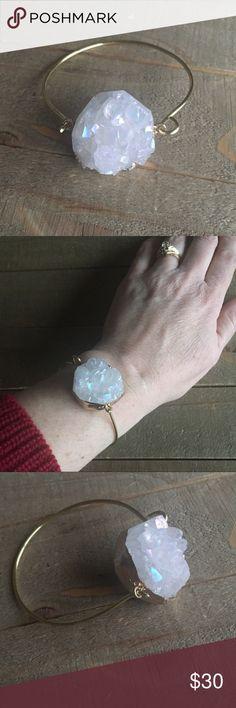Genuine White Druzy Bracelet Handmade gold genuine white Druzy stone bracelet. Handmade Jewelry Bracelets